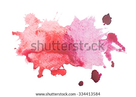 Watercolor blot with splashes and drops isolated on white background. - stock photo