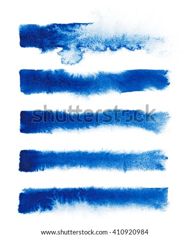 Watercolor. Blue abstract painted ink strokes set on watercolor paper. - stock photo