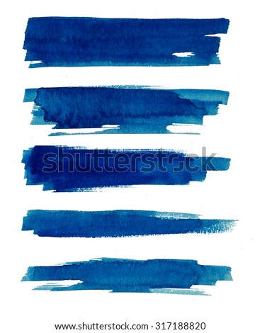 Watercolor. Blue abstract painted ink strokes set on watercolor paper. Ink strokes. Flat kind brush stroke. - stock photo