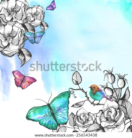 Watercolor blue background with ornament of flowers: roses, rose, with colorful butterflies and birds - stock photo