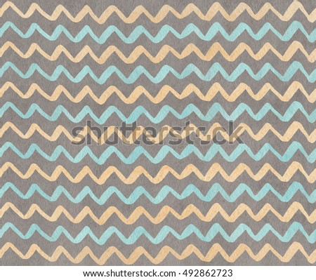 Watercolor blue, beige and gray hand painted stripes pattern, chevron.