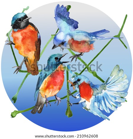 Watercolor blue birds in blue circle - stock photo