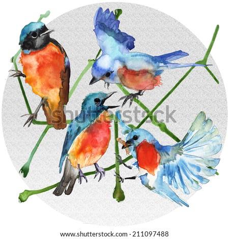 Watercolor blue birds on a gray grainy circle - stock photo