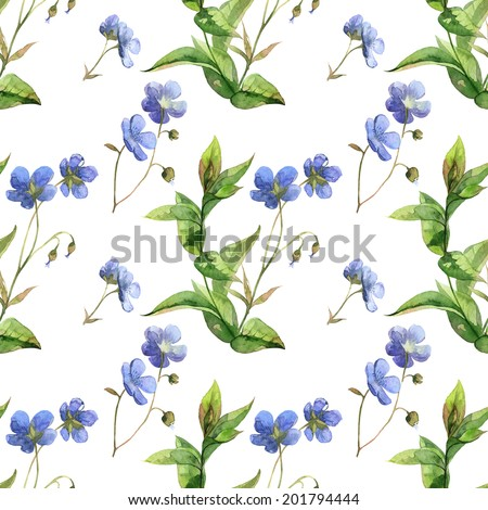 Watercolor blue flowers and green leaves summer pattern set