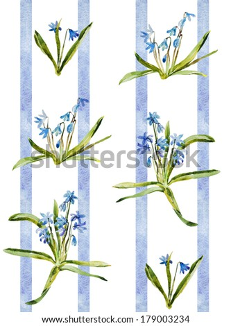 Watercolor blue flowers scilla pattern retro wallpaper with stripes - stock photo