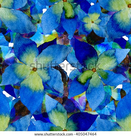 Watercolor blue flowers seamless pattern