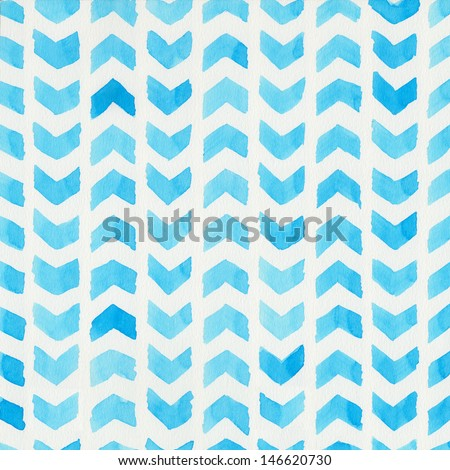 Watercolor blue hand painted background - stock photo