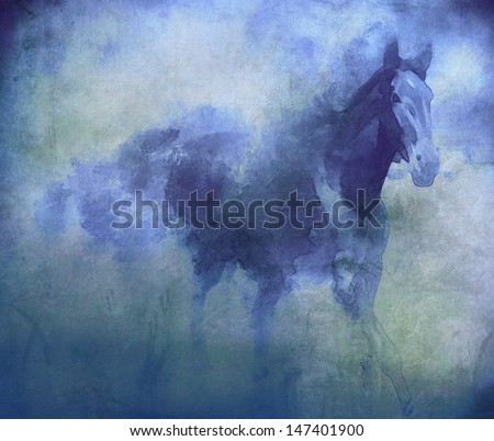 Watercolor blue horse  - stock photo
