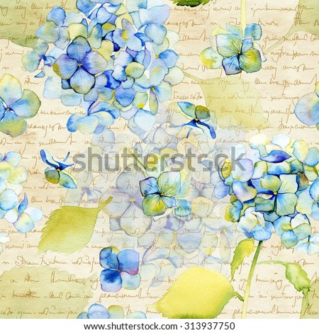 Watercolor blue hydrangea. Seamless pattern. Vintage Botanical Seamless Background - stock photo