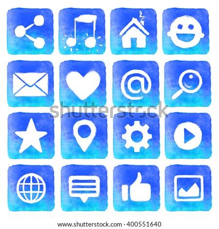 Watercolor blue icons. Social media icons set - stock photo