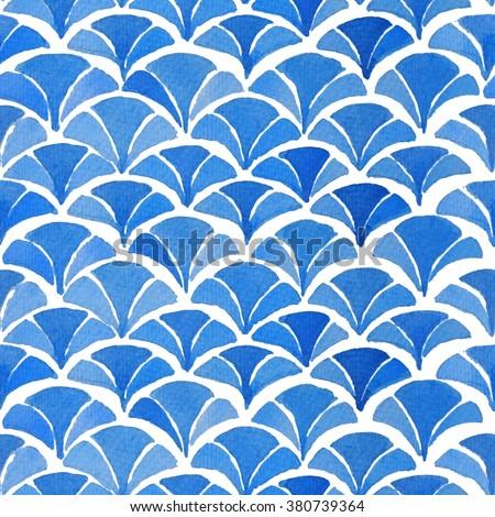 Watercolor blue japanese pattern. Kimono pattern collection. - stock photo