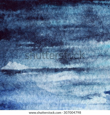 Watercolor blue navy water stripe texture background - stock photo