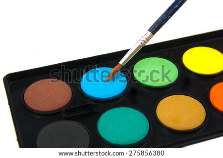 Watercolor blue paint and brush on white background - stock photo