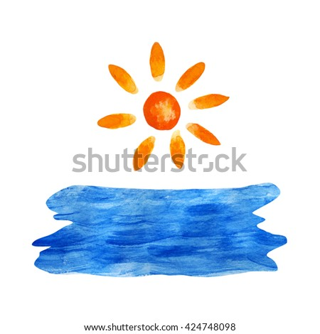 Watercolor blue sea, water, sun isolated on white background set. Hand painting on paper - stock photo