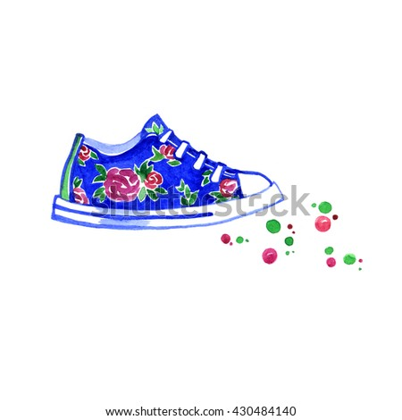 Watercolor blue sneakers with flowers on white background - stock photo