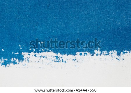 Watercolor. Blue spot on watercolor paper. Abstract blue spot on white background - stock photo