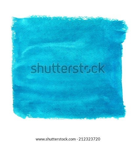 Watercolor blue square paint stain isolated on a white background - stock photo