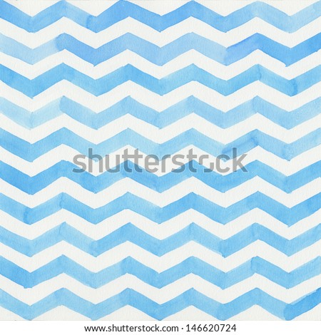 Watercolor blue striped background, chevron - stock photo