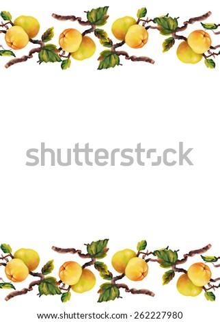 Watercolor border apples on tree twigs on white background - stock photo