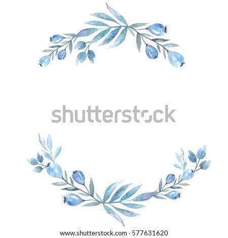 Watercolor Bouquet Blue Flowers Berries On Stock