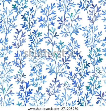 Watercolor branches and leaves fantastic blue. Seamless pattern.  - stock photo