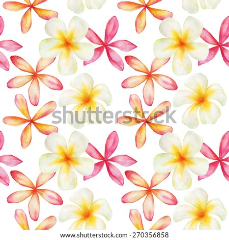 Watercolor bright colors. Seamless pattern. Hand drawing. Bali. Thailand. - stock photo