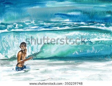 watercolor - bright sea wave that bathed man