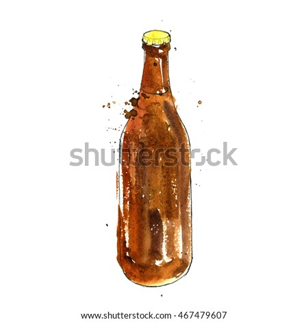watercolor brown bottle of beer, alcohol drink, hand drawn illustration