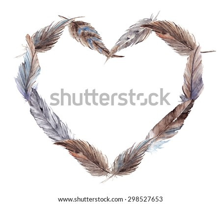 Watercolor brown gray grey feathers isolated