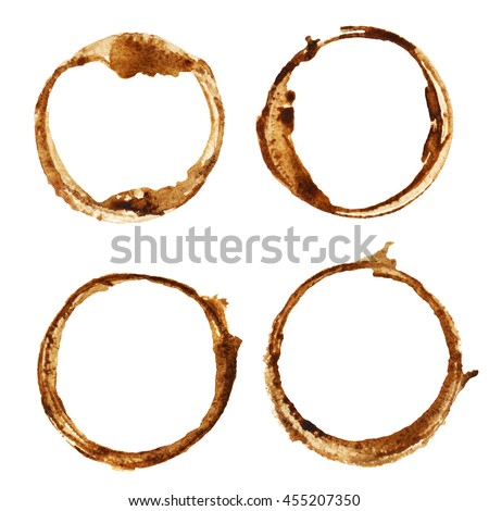 Watercolor brown round set. Frames, paint spots isolated on white background. Hand painting on paper