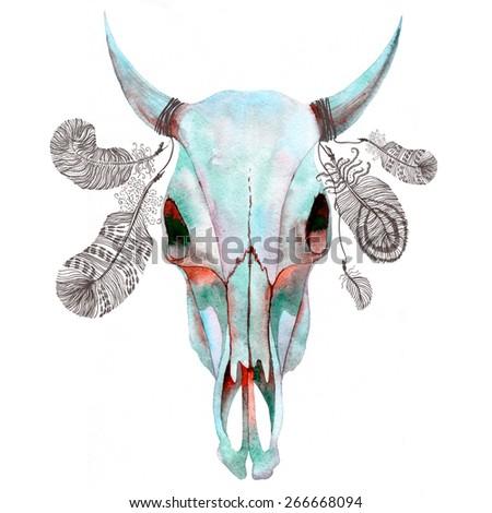 Watercolor bull skull. Raster hand drawn illustration. - stock photo