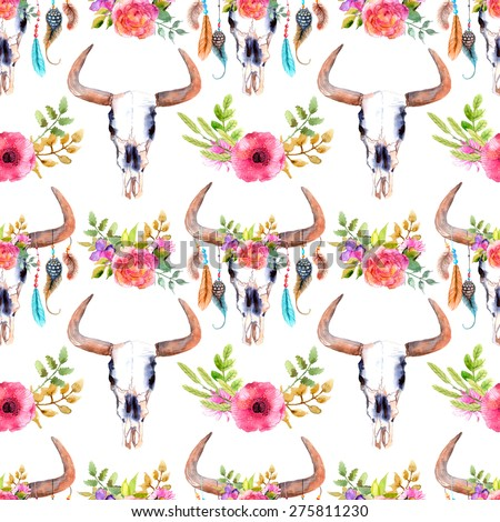 Watercolor bull skull with flowers and feathers, seamless background, pattern - stock photo