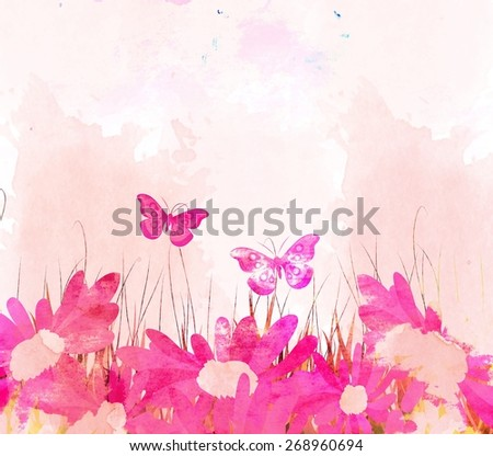 watercolor butterflies and flower background - stock photo