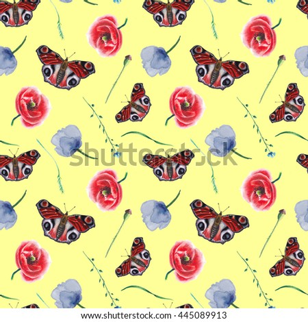 Watercolor butterfly and flowers pattern