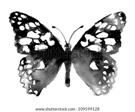 Watercolor Butterfly (Hand Painted) - stock photo