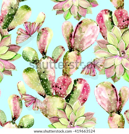Watercolor cactus, butterflies, seamless floral pattern background - stock photo