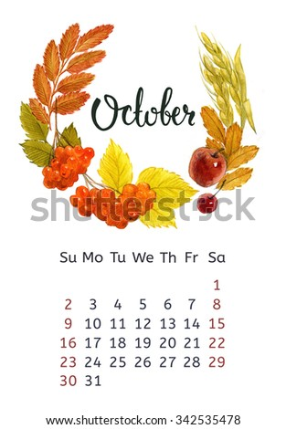 Watercolor calendar with floral wreath and hand lettering. October 2016