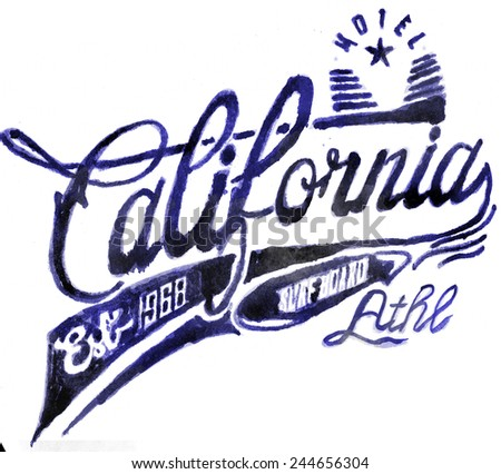 WATERCOLOR CALIFORNIA - stock photo