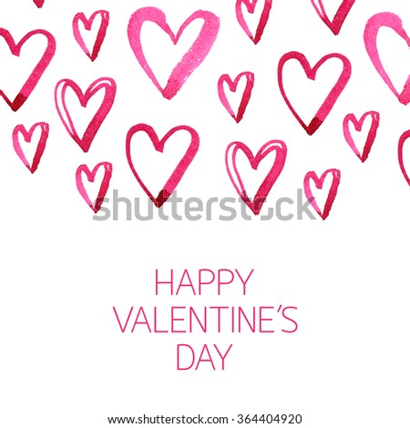 Watercolor card for Valentine's Day - stock photo