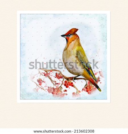 watercolor card with a bird - stock photo