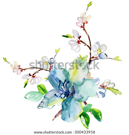 Watercolor card with beautiful flowers - stock photo