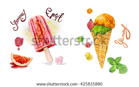 Watercolor card with the image of ice cream with mint flavor , cherry, raspberry , orange .Frozen juice. Inscriptions - stock photo