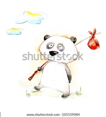 Watercolor cartoon character panda - stock photo