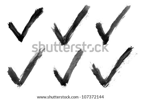Watercolor check mark. Black isolated shape on white background. Aquarelle abstract textured in handmade technique. - stock photo