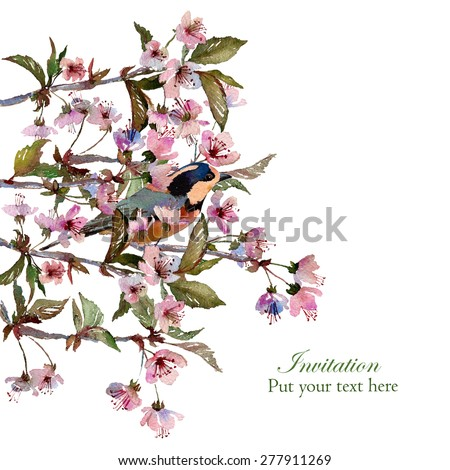 Watercolor Cherry Blossom Branches Bird Isolated Stock Illustration ...