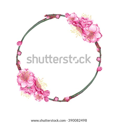 Watercolor Cherry, Plum, Peach blossom Twig Wreath on white background. Wedding Decoration. Vintage Spring floral frame. Postcard, poster, textile & T-shirt design. Hand drawn illustration. - stock photo