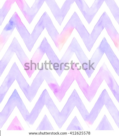 Watercolor chevron of purple color with white background. Seamless pattern for fabric - stock photo