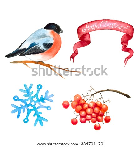 Watercolor Christmas and New Year set. Hand drawn illustration.Bullfinch bird, red ribbon, snowflake, branch of rowan, all elements are isolated on white background.  - stock photo