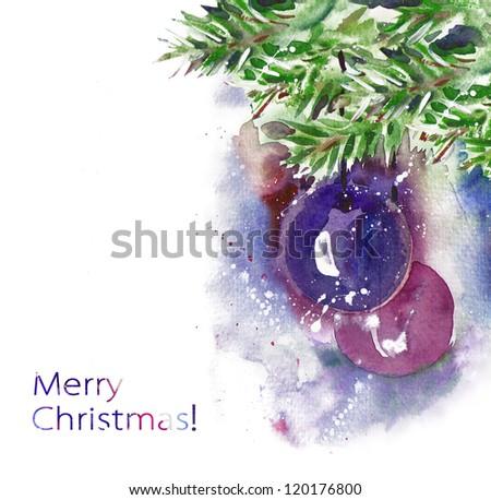 Watercolor Christmas Balls - stock photo