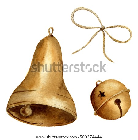 Watercolor christmas bell set. Gold bells isolated on white background. For design, prints or background